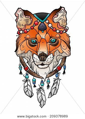 fox head indian totem and dream catcher vector illustration