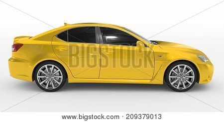 Car Isolated On White - Yellow Paint, Tinted Glass - Right Side View