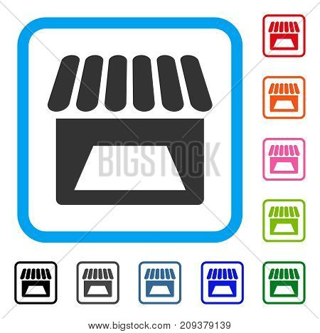 Store icon. Flat grey iconic symbol inside a light blue rounded squared frame. Black, gray, green, blue, red, orange color variants of Store vector. Designed for web and application UI.