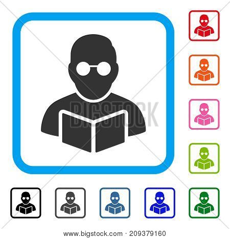 Student Reading Book icon. Flat gray iconic symbol in a light blue rounded squared frame. Black, gray, green, blue, red, orange color variants of Student Reading Book vector.