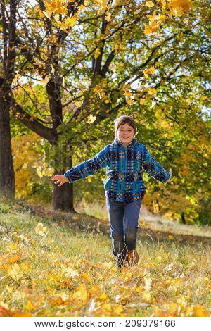 Happy boy running on sunny autumn park with yellow leaves, outdoors