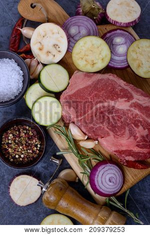 Raw Meat From Black Angus And Zucchini, Eggplant, Onion