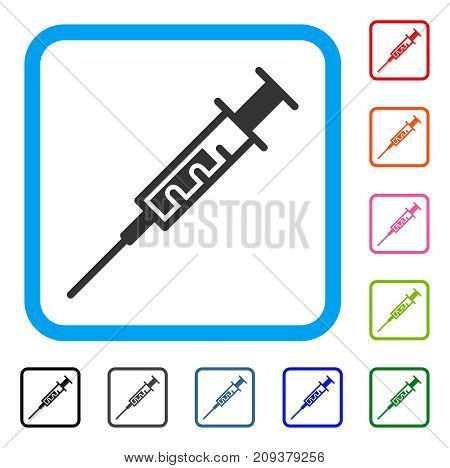 Syringe icon. Flat grey pictogram symbol inside a light blue rounded frame. Black, gray, green, blue, red, orange color versions of Syringe vector. Designed for web and app interfaces.