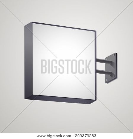 3D square signboard mock up isolated on gray background. Illuminated square lightbox with blank space for design. Applicable for restaurant, hotel, night club logo presentation. Vector eps 10.