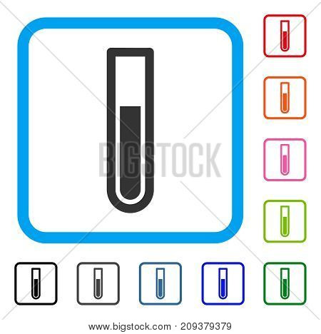Test Tube icon. Flat grey pictogram symbol inside a light blue rounded squared frame. Black, gray, green, blue, red, orange color versions of Test Tube vector. Designed for web and software UI.