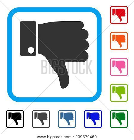 Thumb Down icon. Flat gray pictogram symbol inside a light blue rounded rectangular frame. Black, gray, green, blue, red, orange color versions of Thumb Down vector. Designed for web and app UI.