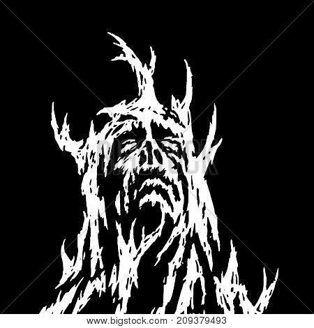 A demon with branches growing from it looks up. Vector illustration. Genre of horror. Scary character head for halloween.