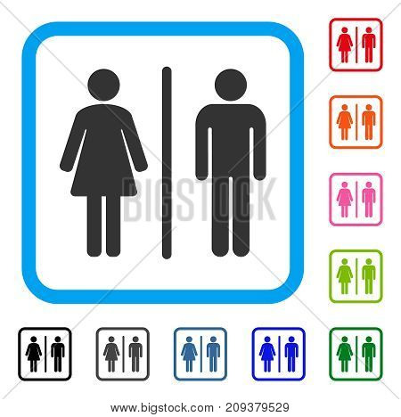 Toilets icon. Flat grey iconic symbol inside a light blue rounded rectangle. Black, gray, green, blue, red, orange color versions of Toilets vector. Designed for web and application interfaces.