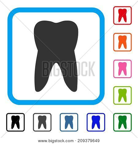 Tooth icon. Flat gray iconic symbol inside a light blue rounded squared frame. Black, gray, green, blue, red, orange color variants of Tooth vector. Designed for web and application interfaces.