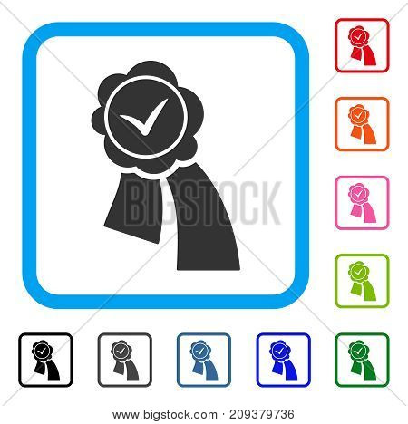 Validation Seal icon. Flat grey pictogram symbol inside a light blue rounded frame. Black, gray, green, blue, red, orange color versions of Validation Seal vector. Designed for web and application UI.