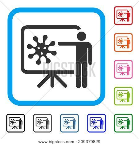 Virus Lecture icon. Flat gray iconic symbol inside a light blue rounded rectangle. Black, gray, green, blue, red, orange color variants of Virus Lecture vector. Designed for web and app UI.