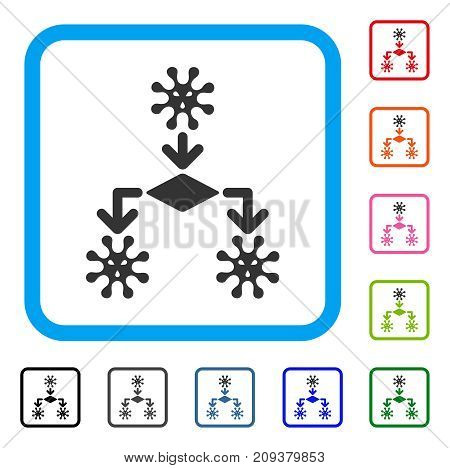 Virus Reproduction icon. Flat grey pictogram symbol inside a light blue rounded frame. Black, gray, green, blue, red, orange color versions of Virus Reproduction vector.