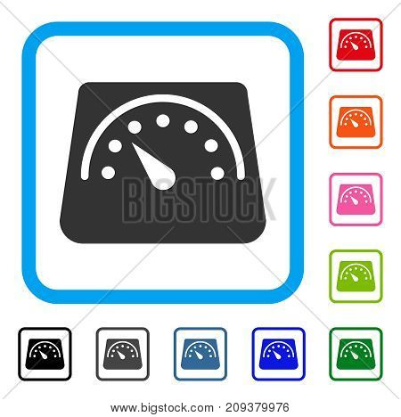 Weight Meter icon. Flat grey iconic symbol inside a light blue rounded frame. Black, gray, green, blue, red, orange color variants of Weight Meter vector. Designed for web and software user interface.