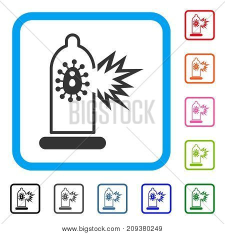 Condom Infection Break icon. Flat gray pictogram symbol inside a light blue rounded rectangle. Black, gray, green, blue, red, orange color additional versions of Condom Infection Break vector.