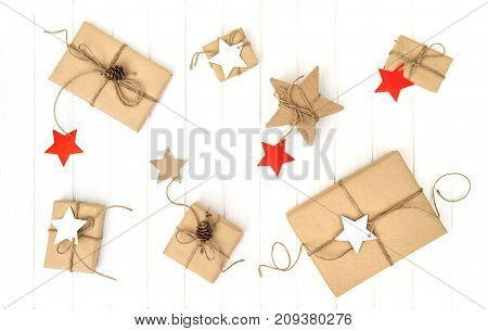 Gifts and christmas decoration flat lay shopping