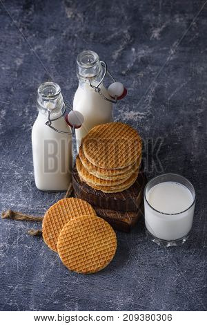 Glass Of Milk And Waffle With Jam