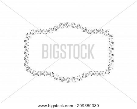 Chain frame. Isolated on white background.Sketch illustration.
