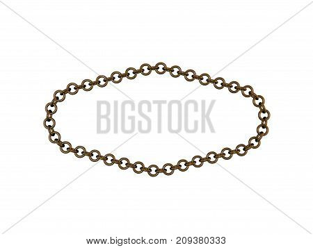 Bronze chain. Isolated on white background. 3D rendering illustration.