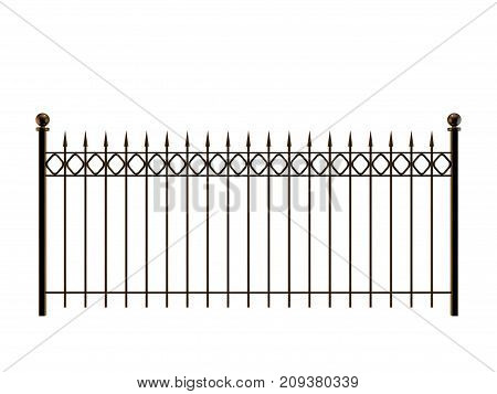 Metal fence. Isolated on white background. 3D rendering illustration.