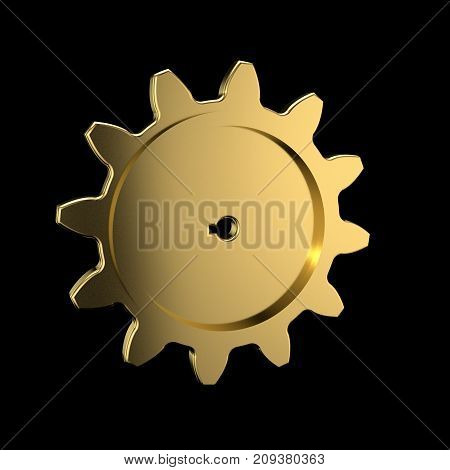 Metallic cogwheel. Isolated on black background. 3D rendering illustration.