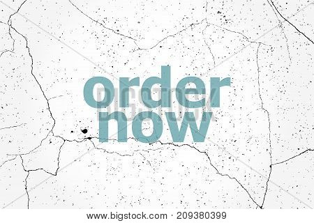 Text Order Now. Business Concept . Painted Blue Word On White Vintage Old Background
