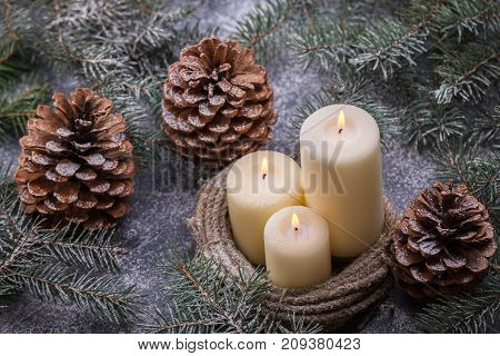 New Years Theme With Candles And Christmas Tree