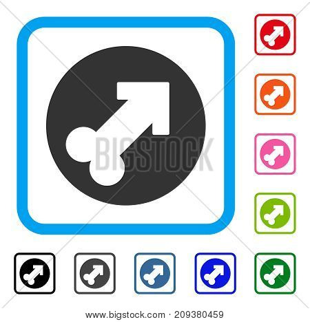 Erection icon. Flat gray pictogram symbol in a light blue rounded squared frame. Black, gray, green, blue, red, orange color versions of Erection vector. Designed for web and application UI.