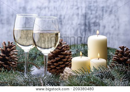 New Year Card  Design With Two Glass-wine, Candles And Christmas Tree