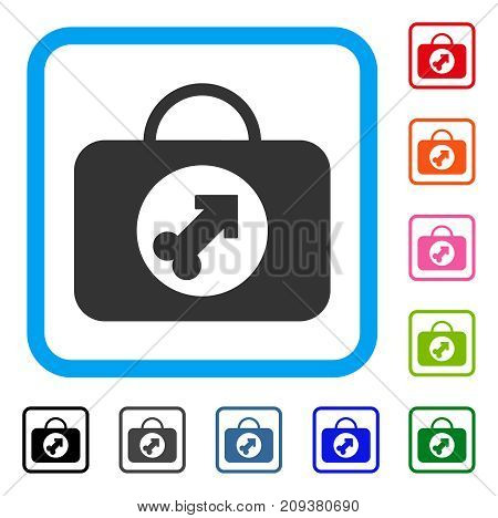 Male Erection Case icon. Flat gray pictogram symbol in a light blue rounded squared frame. Black, gray, green, blue, red, orange color versions of Male Erection Case vector.