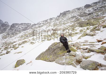 Beautiful Velicka valley - in slovakian High Tatra mountains. Beautiful panorama with autumn and winter together - path from Sliezsky Dom to Polsky Hreben (Polski Grzebien)