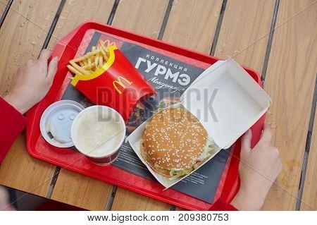 KALININGRAD, RUSSIA - CIRCA OCTOBER, 2017: food served on a tray at McDonald's restaurant