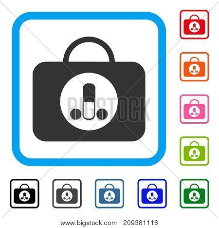 Male Sexual Toolbox icon. Flat grey pictogram symbol in a light blue rounded frame. Black, gray, green, blue, red, orange color versions of Male Sexual Toolbox vector. Designed for web and app UI.