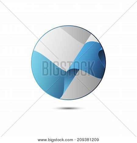 San Marino flag button with shadow on a white background. Vector illustration.