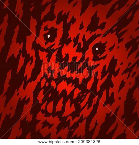 Scary face the demon in your window at night. Vector illustration. Genre of horror. Terrible character head for halloween.