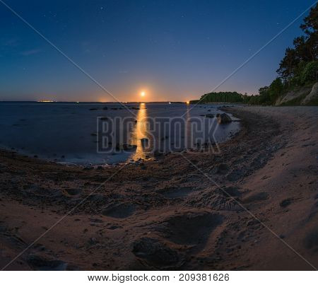 Moonrise On The Shore Of The Baltic Sea