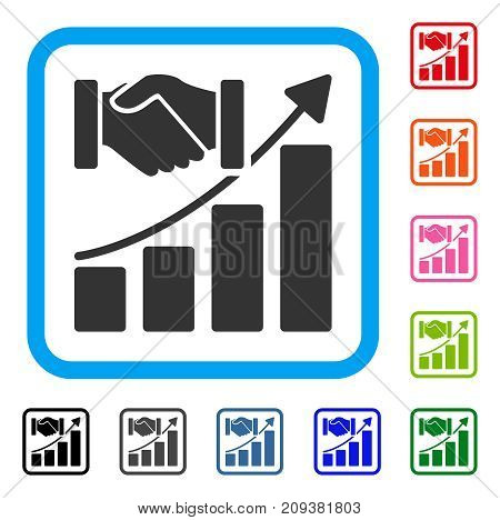 Acquisition Growth icon. Flat grey iconic symbol inside a light blue rounded frame. Black, gray, green, blue, red, orange color additional versions of Acquisition Growth vector.