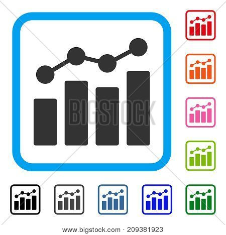 Analytics icon. Flat gray iconic symbol inside a light blue rounded rectangular frame. Black, gray, green, blue, red, orange color variants of Analytics vector. Designed for web and app UI.