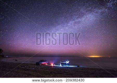 Aurora Polaris Russia, Milky Way, Coast, Stones, Night