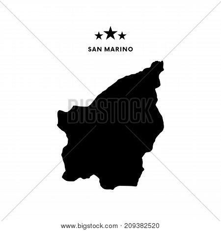 San Marino map. Stars and text. Vector illustration.