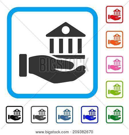 Bank Building Service Hand icon. Flat gray pictogram symbol inside a light blue rounded rectangular frame. Black, gray, green, blue, red, orange color variants of Bank Building Service Hand vector.