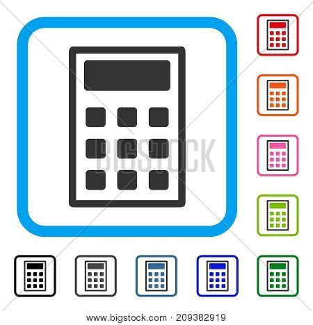 Calculator icon. Flat gray iconic symbol in a light blue rounded square. Black, gray, green, blue, red, orange color variants of Calculator vector. Designed for web and application interfaces.