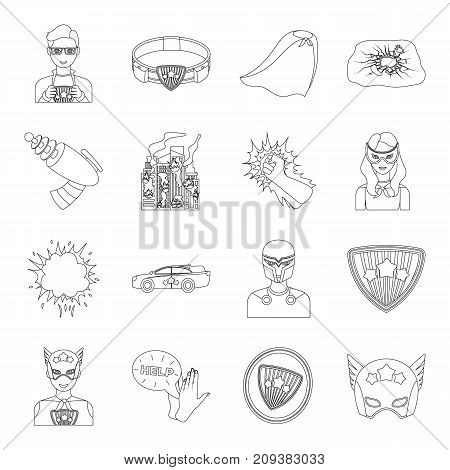 Suit, sign, and other  icon in outline style. Lifeguard, protector, superpower icons in set collection