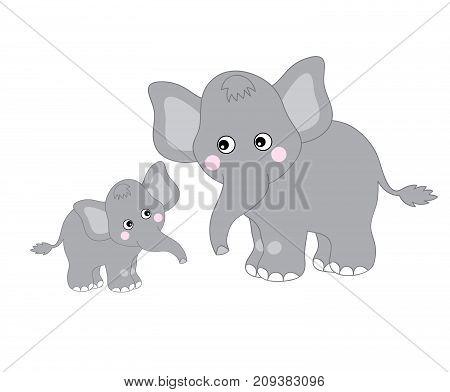 Vector cute cartoon elephants looking at each other. Vector mom and baby elephant. Elephants vector illustration