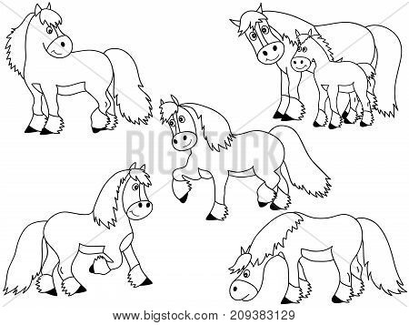 Vector set of black and white cute cartoon horses. Vector horse. Horses vector illustration