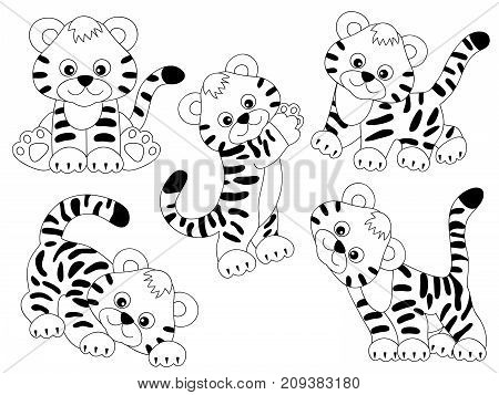 Vector set of black and white cute cartoon tigers. Vector tiger cub. Tigers vector illustration