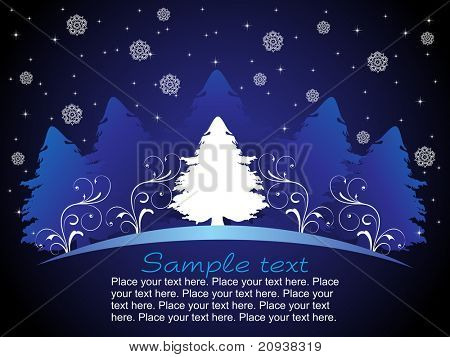 shiny blue background with christmas tree and blossom
