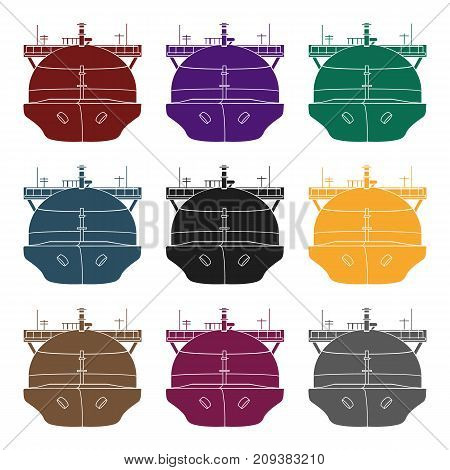 Oil tanker icon in black style isolated on white background. Oil industry symbol vector illustration.