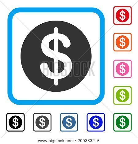 Dollar Coin icon. Flat gray iconic symbol inside a light blue rounded square. Black, gray, green, blue, red, orange color versions of Dollar Coin vector. Designed for web and software interfaces.