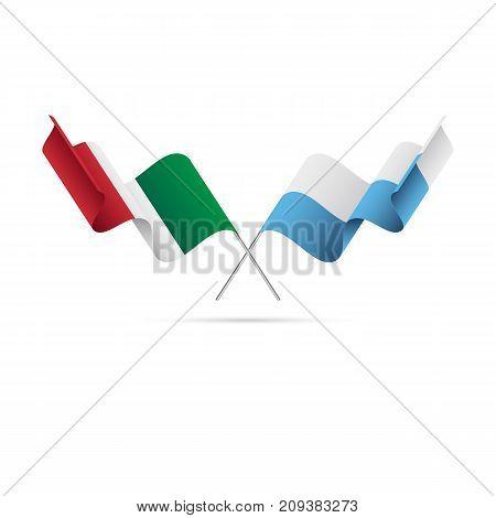 Italy and San Marino flags. Vector illustration.