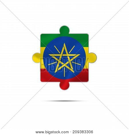 Isolated piece of puzzle with the Ethiopia flag. Vector illustration.